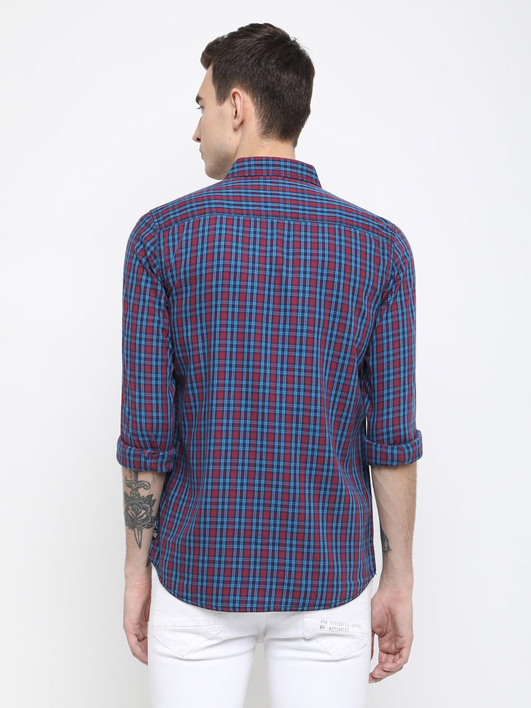 Pink and blue checkered casual shirt - urban clothing co.