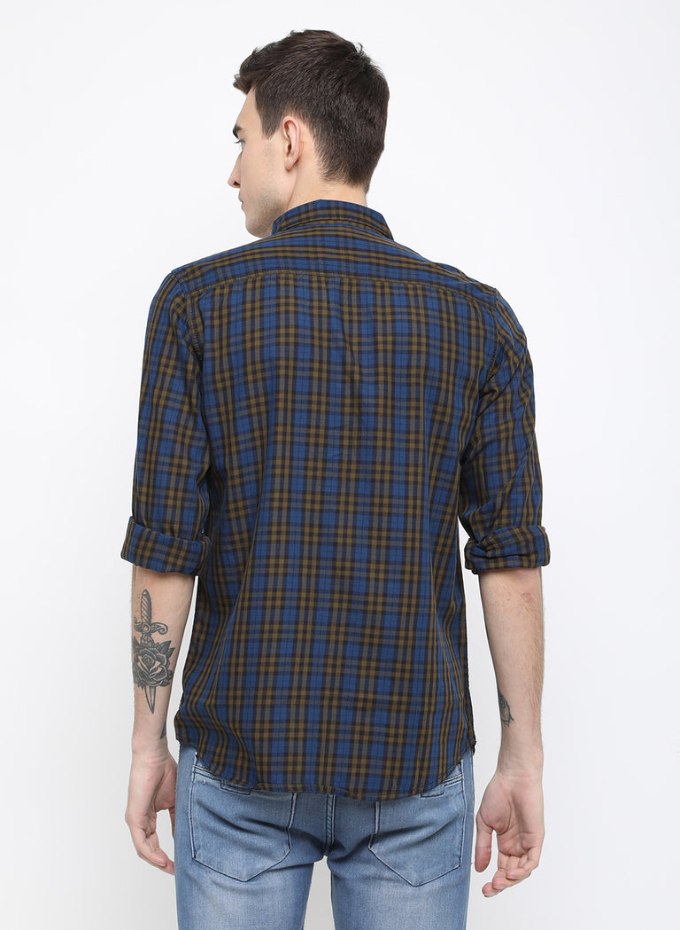 beige blue checks slim fit casual shirt