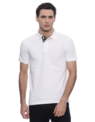 Solid white polo with olive contrast on placket/ No branding visible