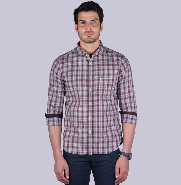 Grey and maroon checkered shirt