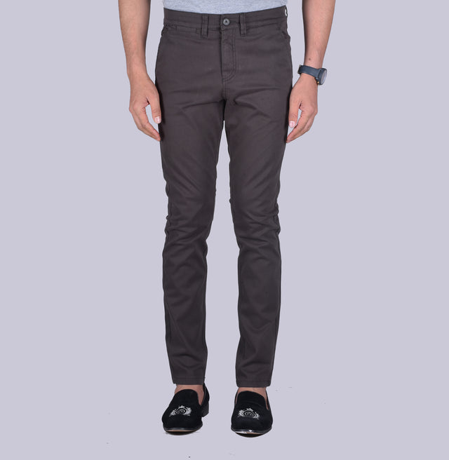 Dark grey contour fit trousers.