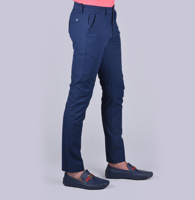 Blue contour fit trousers. - urban clothing co.