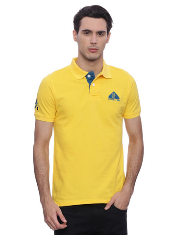 classic yellow polo with blue contrast