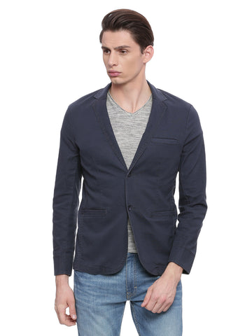 Solid Navy Blue Slim Fit Blazer