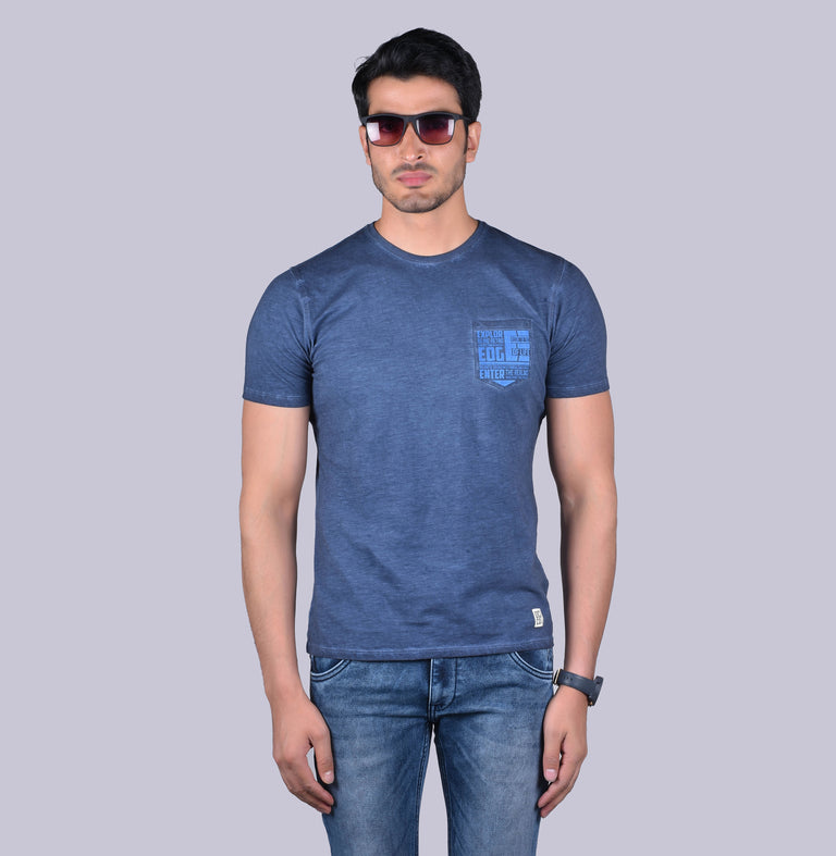 Navy solid  printed t-shirt - urban clothing co.