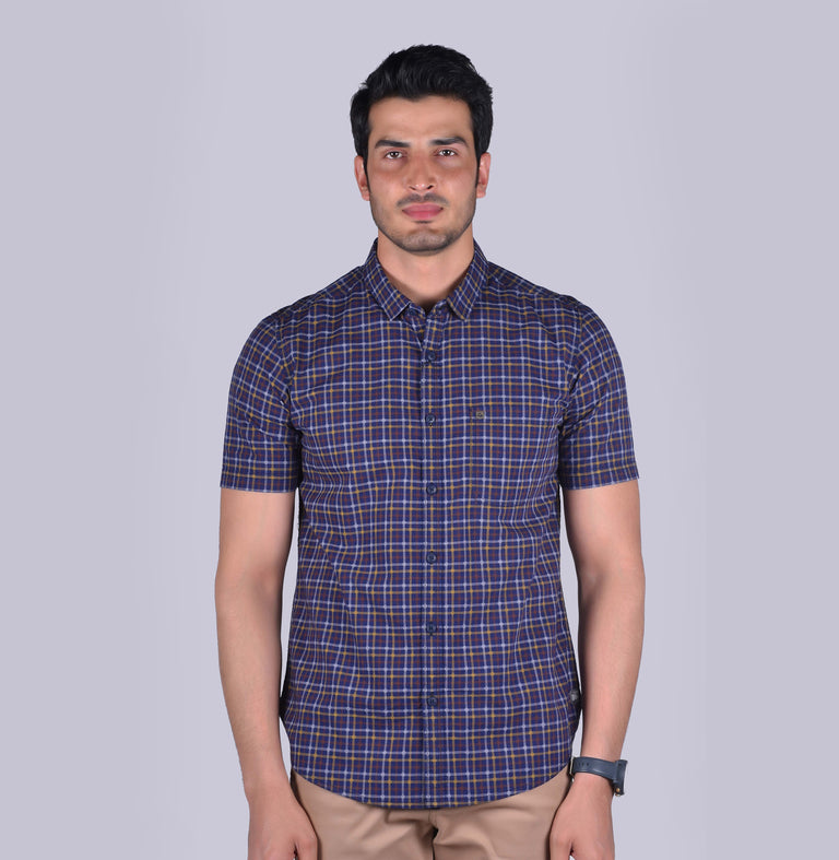Navy shirt with yellow, brown and white checkered pattern