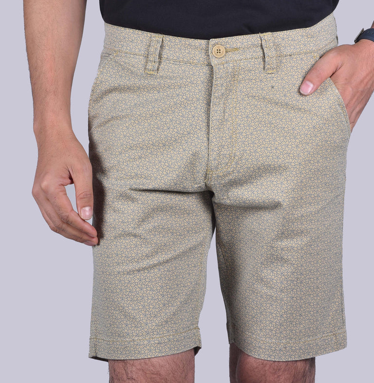 Cream Printed shorts. - urban clothing co.