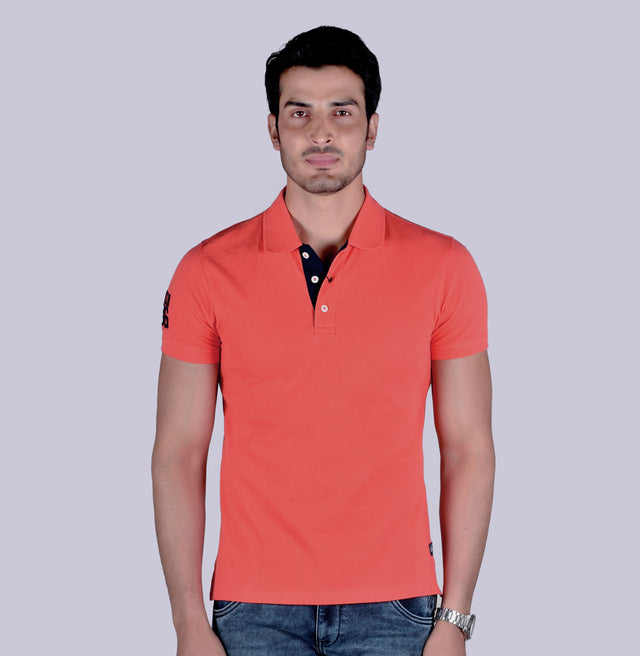 Peach solid polo t-shirt - urban clothing co.