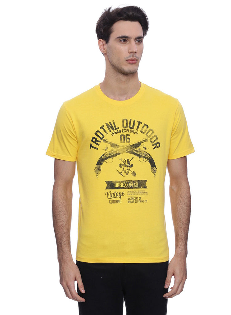 Traditional outdoor yellow chest printed TShirt