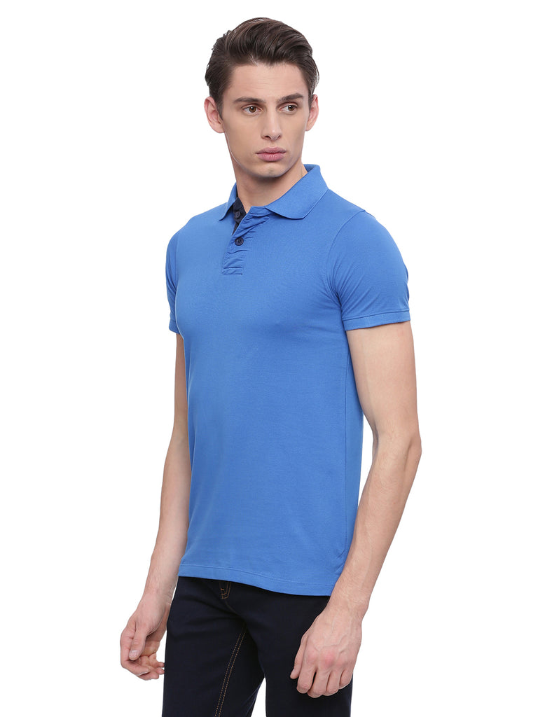 Classic Blue polo in slim fit. - urban clothing co.
