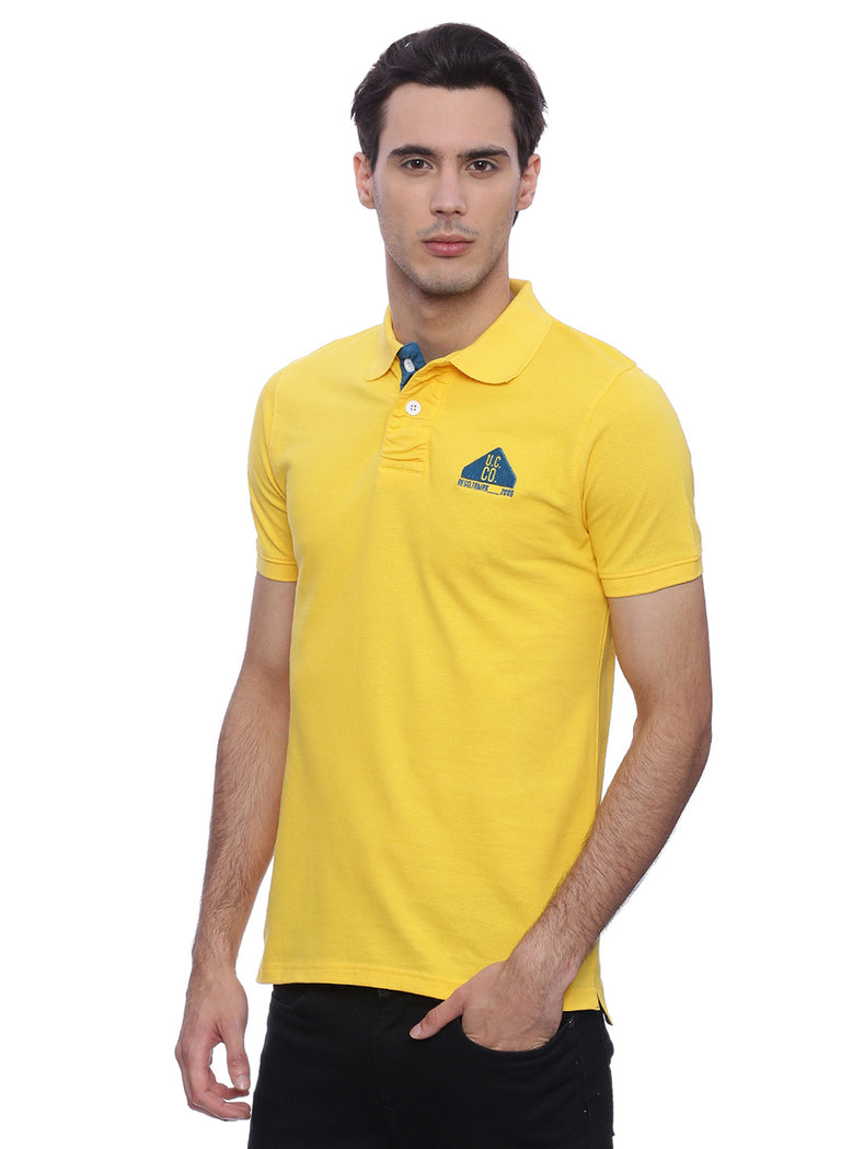 classic yellow polo with blue contrast - urban clothing co.