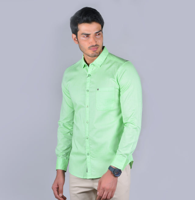 Lime green solid oxford shirt