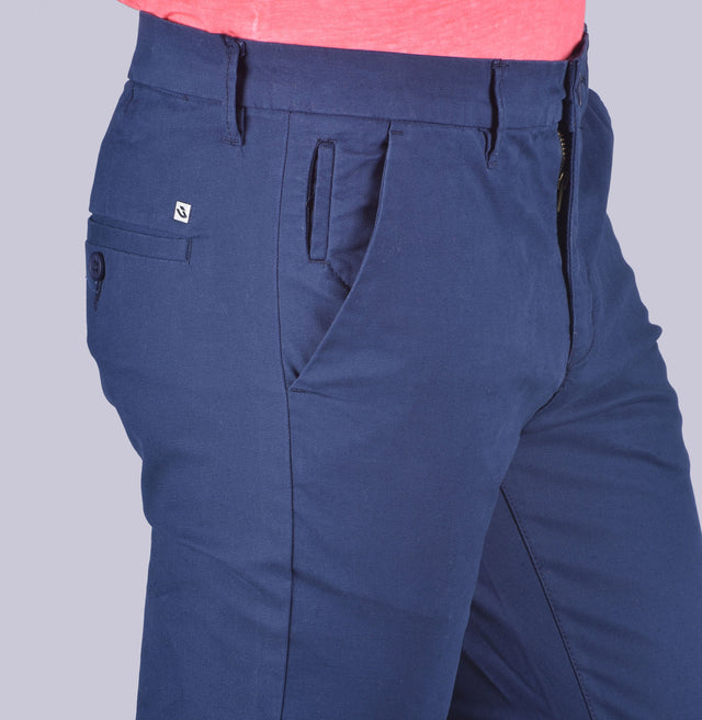 Blue contour fit trousers.