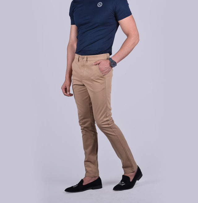 Khaki contour fit trousers.