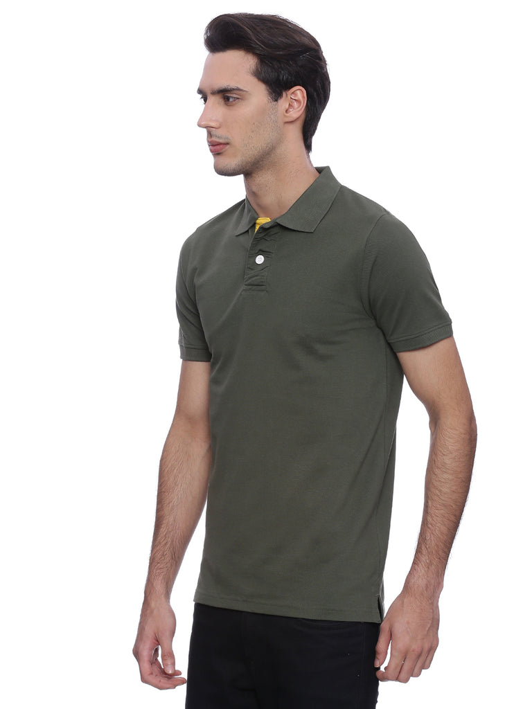 Bottle green Polo with red contrast details - urban clothing co.