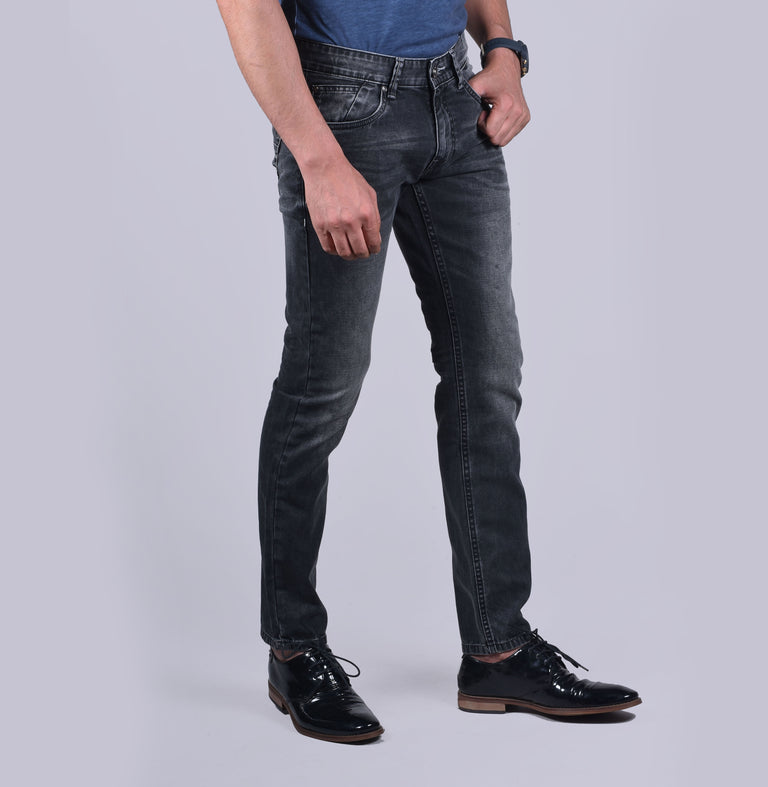 Dark gray slim fit denims - urban clothing co.