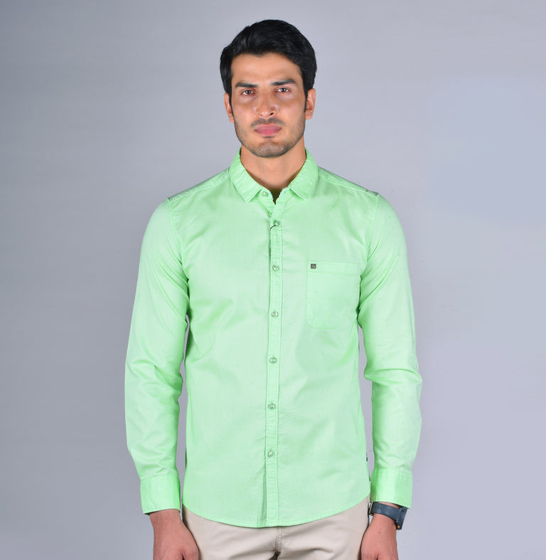 Lime green solid oxford shirt - urban clothing co.