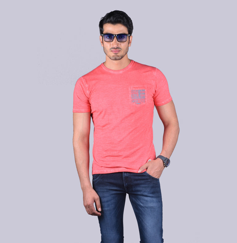 Peach solid  printed t-shirt
