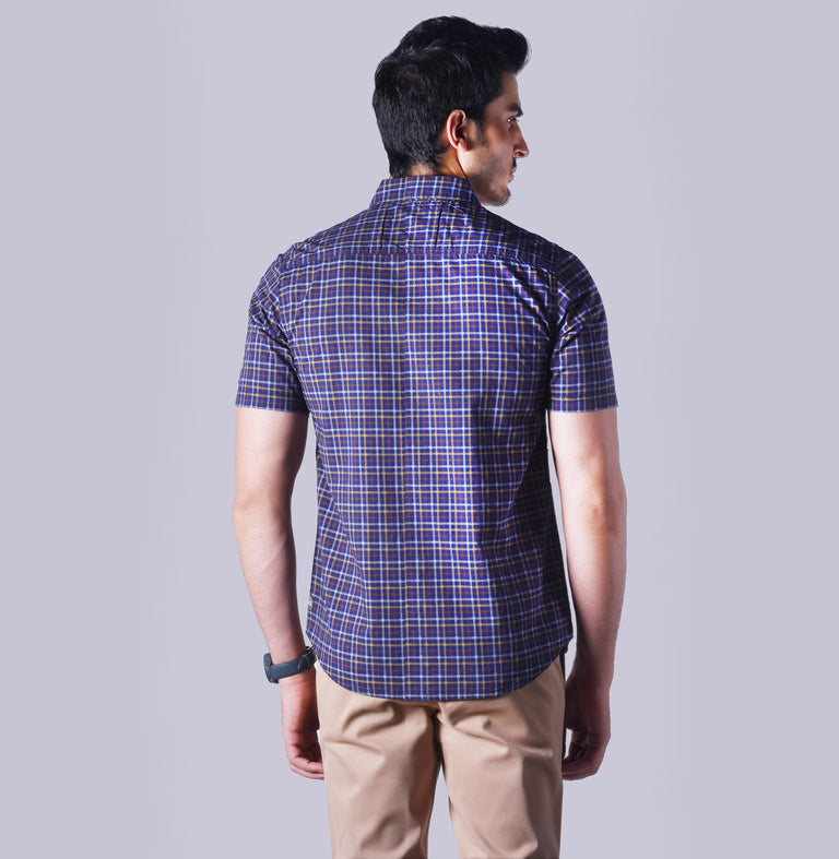 Navy shirt with yellow, brown and white checkered pattern - urban clothing co.