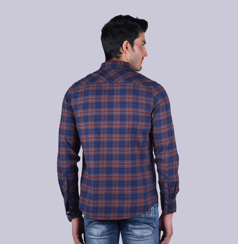 Brown and navy checkered shirt - urban clothing co.