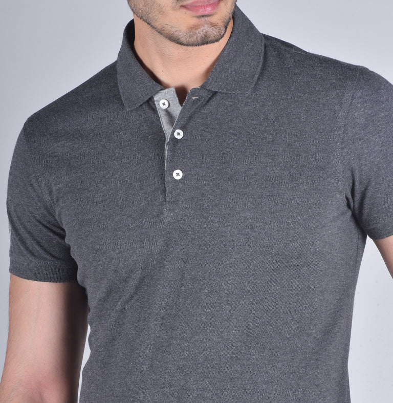 Charcoal solid polo t-shirt