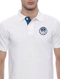 White pique Polo T shirt with Blue contrast embroidery and detailing