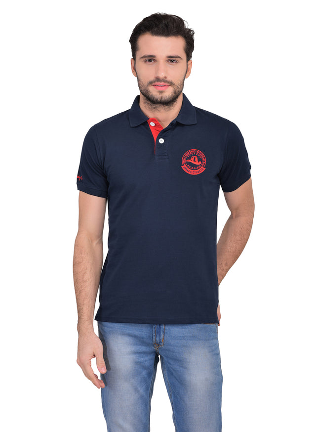 All season navy polo with red contrast