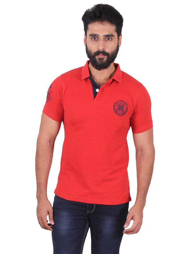 All season red polo with navy contrast