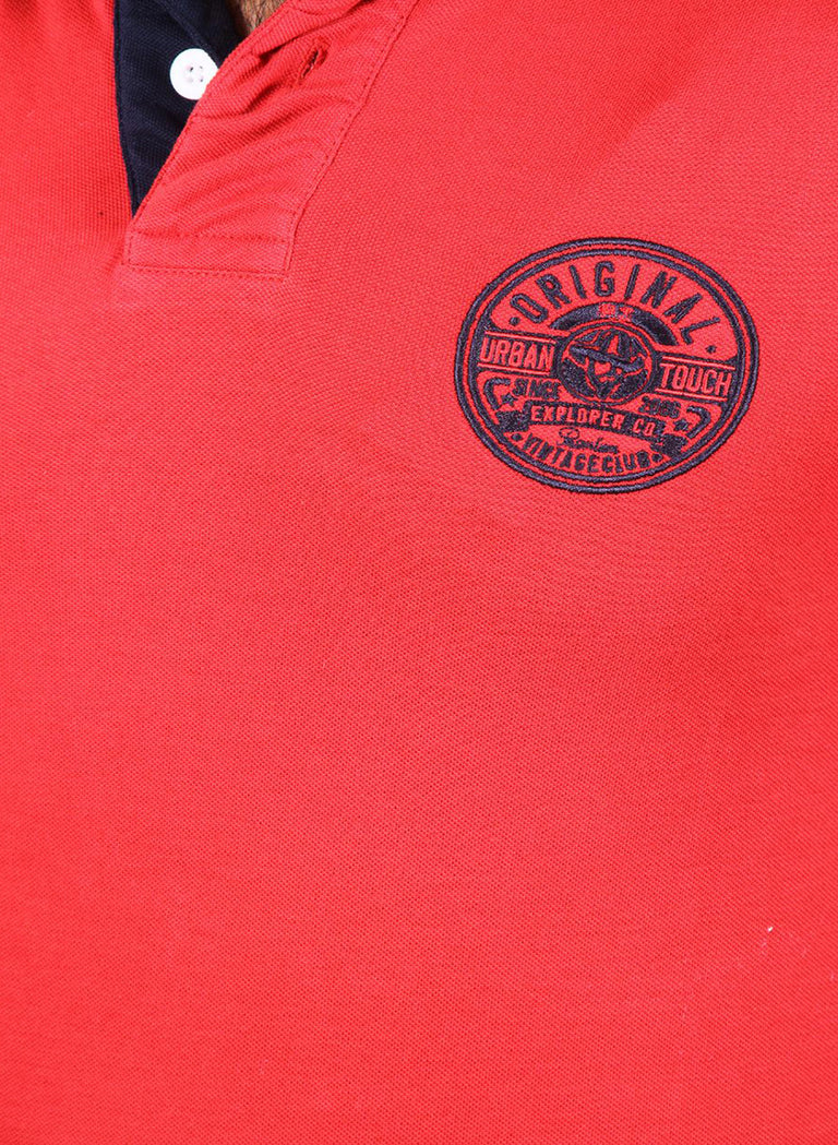 All season red polo with navy contrast - urban clothing co.