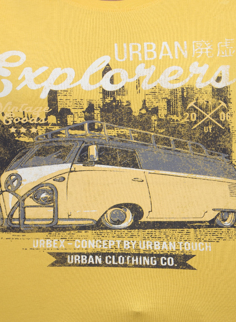 Retro van chest printed tee in Yellow