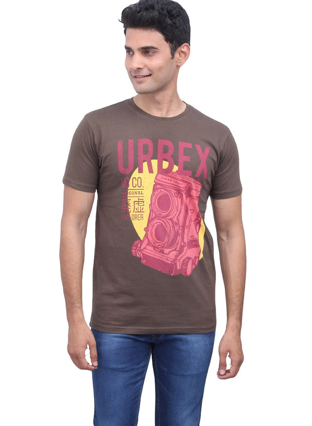 Chest printed tee in olive brown - urban clothing co.