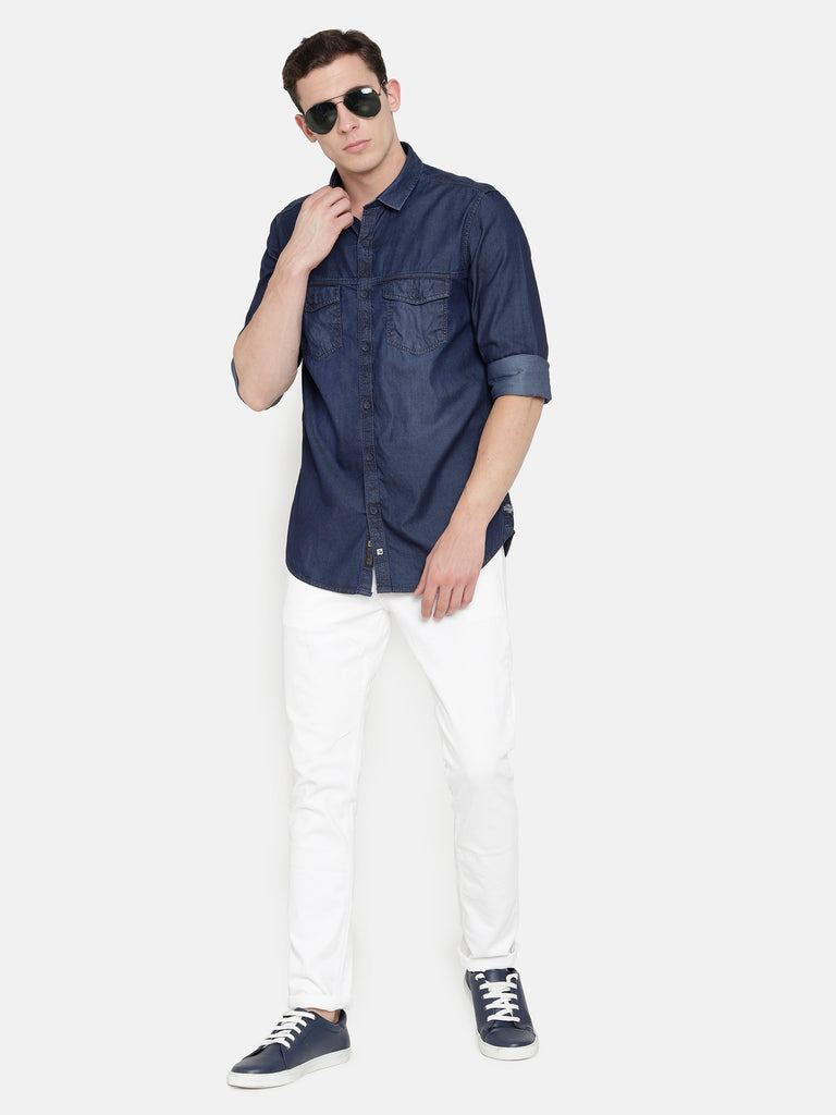 Double Pocket Washed Denim Shirt with smart sheen