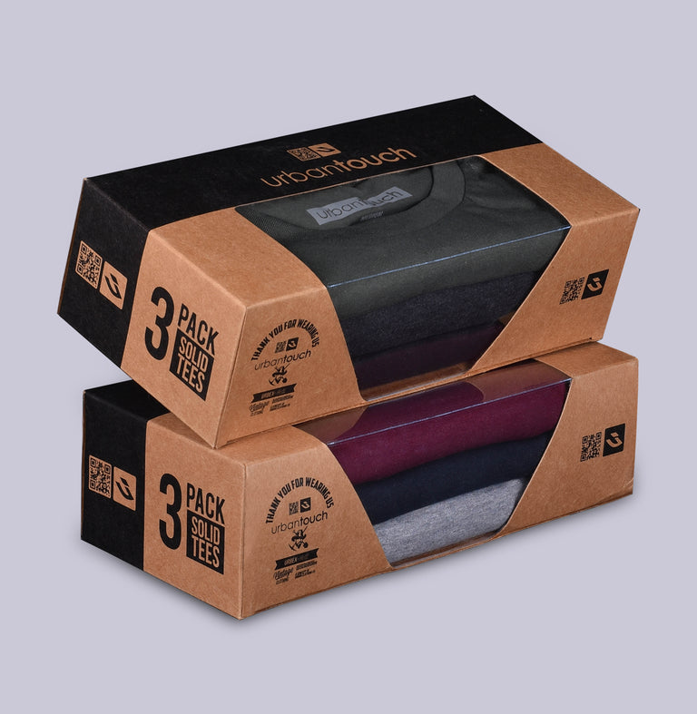 PACK OF 3 T SHIRTS -Wine, Grey Melange, Navy. - urban clothing co.