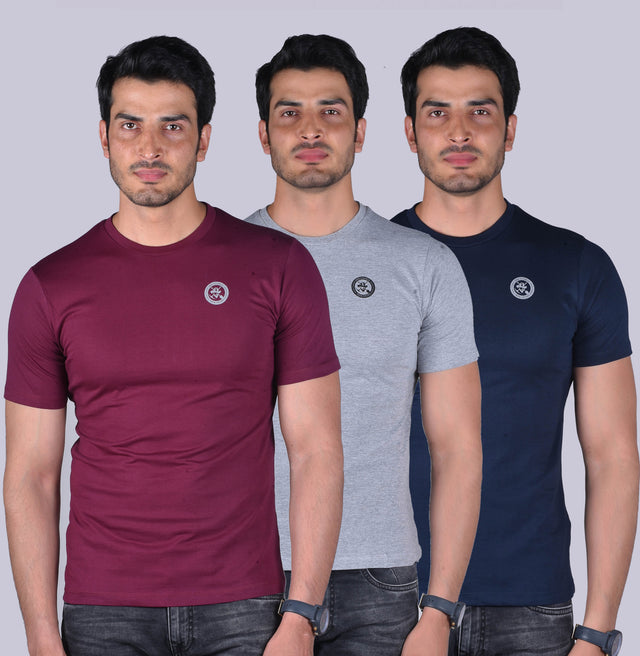 PACK OF 3 T SHIRTS -Wine, Grey Melange, Navy.