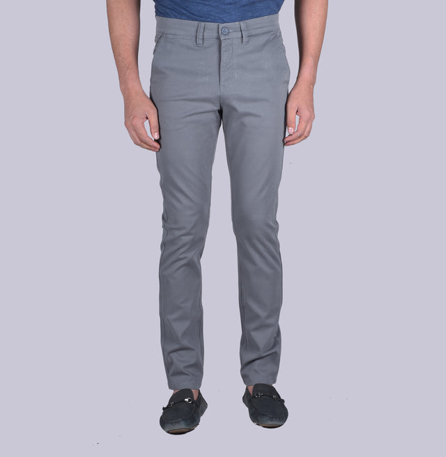 Grey contour fit trousers.