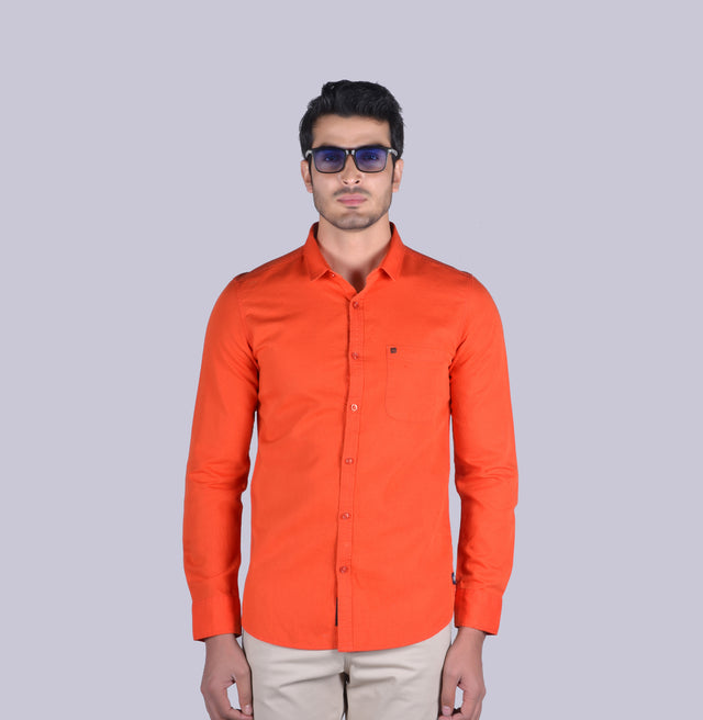 Orange cotton linen solid shirt