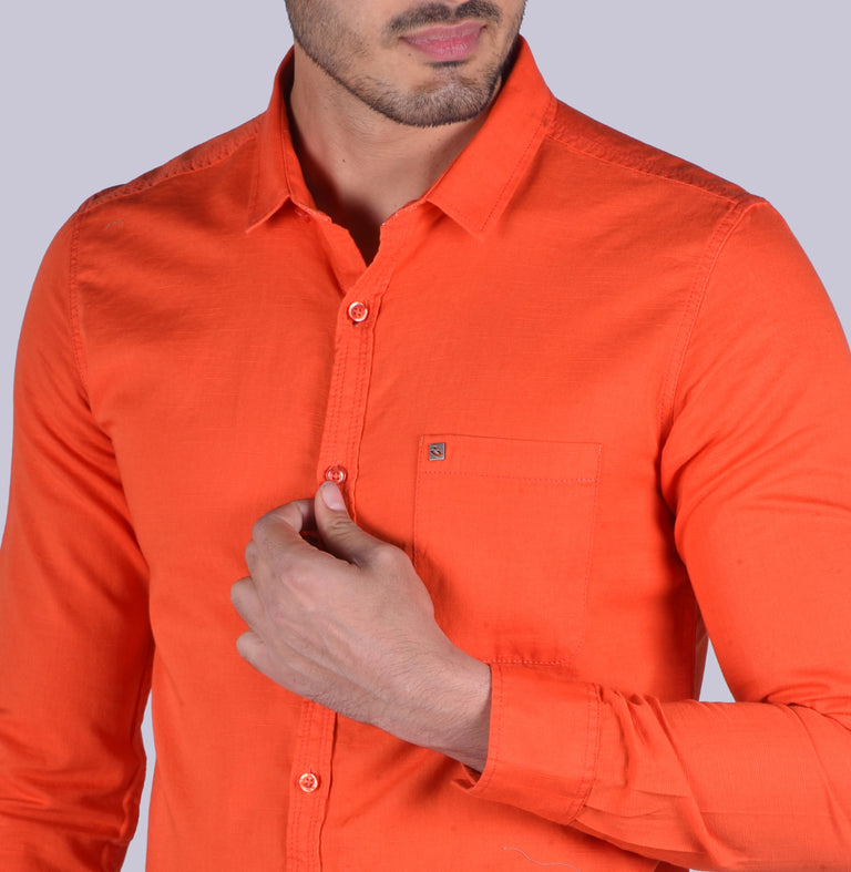Orange cotton linen solid shirt - urban clothing co.