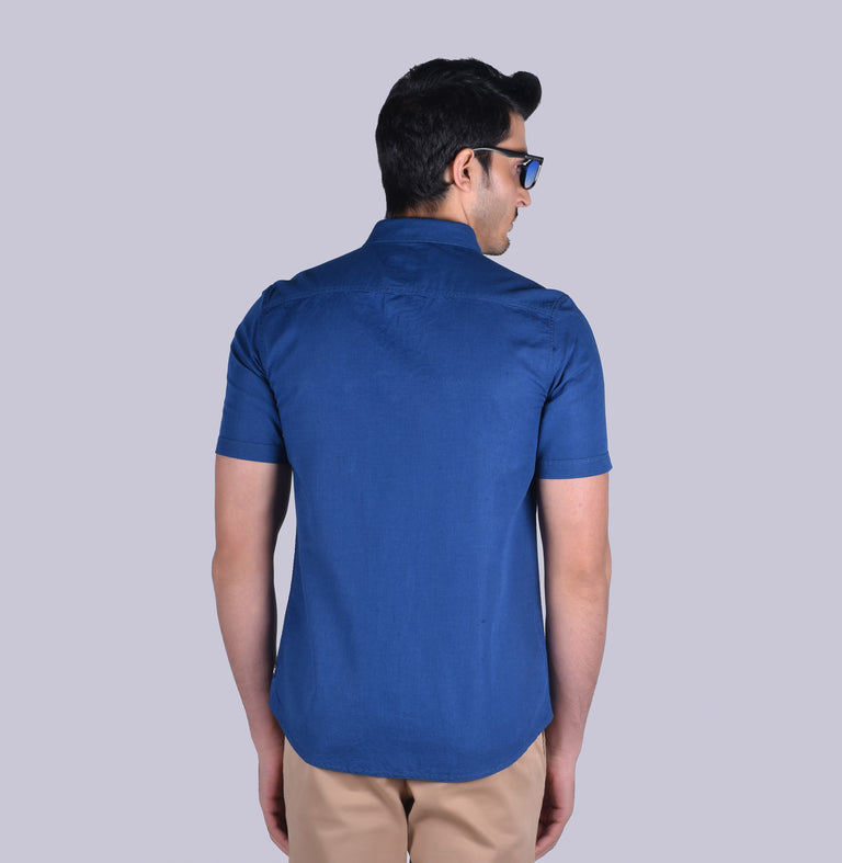 Navy cotton linen solid shirt - urban clothing co.