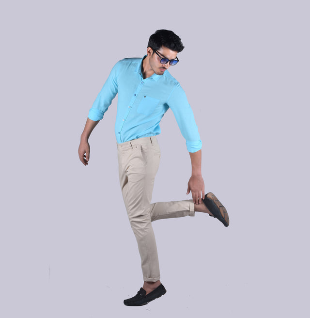 Sky blue cotton linen solid shirt - urban clothing co.