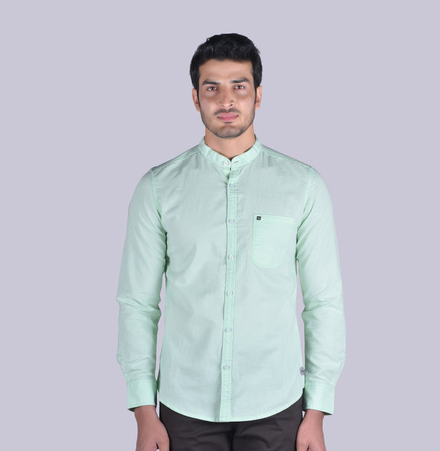 Green cotton linen solid shirt - urban clothing co.