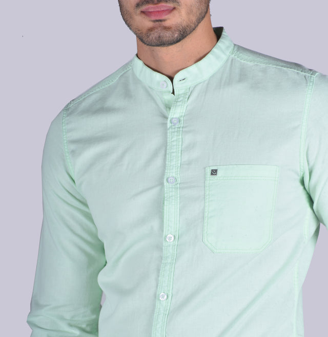 Green cotton linen solid shirt