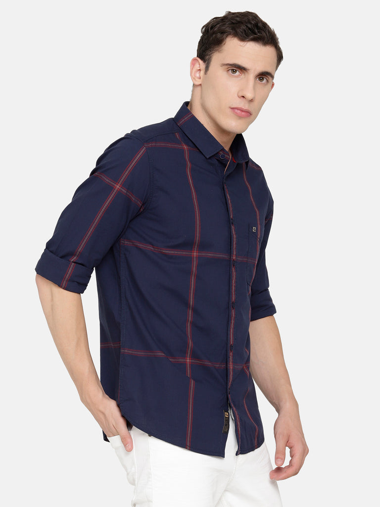 Navy Large Checkered Shirt