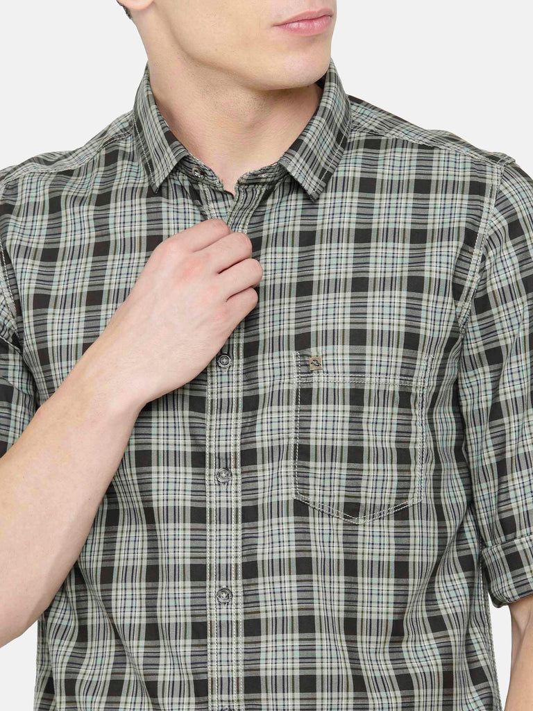 Olive Green Checkered Shirt
