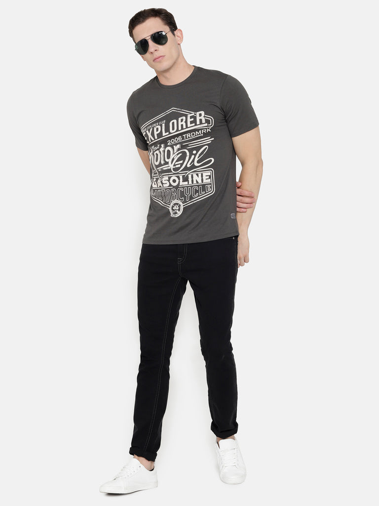 Charcoal Grey Chest Printed T-Shirt