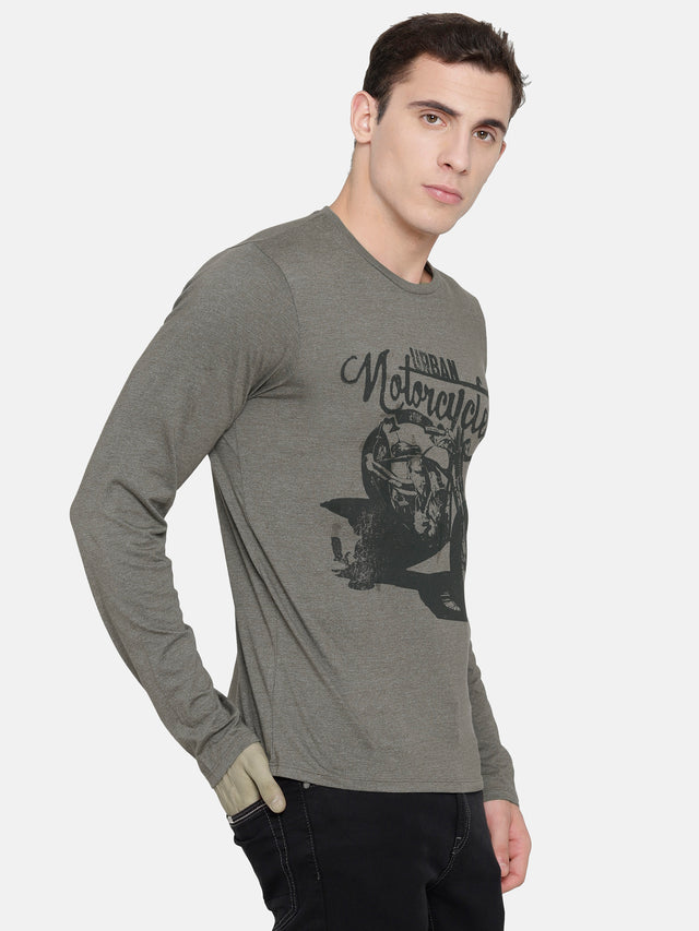 Army Green Chest Printed T-Shirt -Full Sleeve
