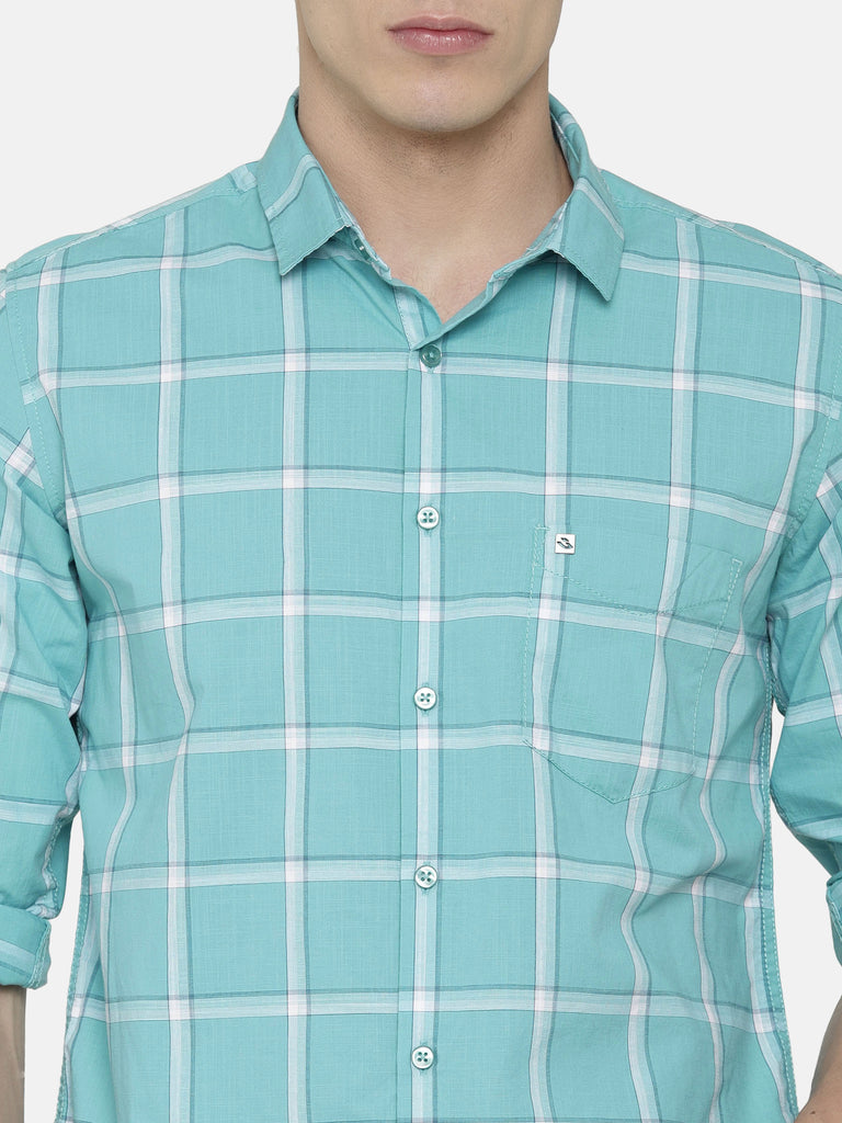 Aqua Green Checkered Shirt