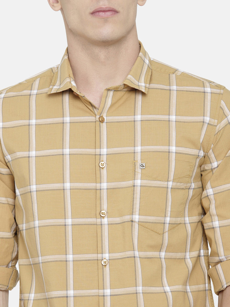 Mustard Yellow/ Brown Checkered Shirt