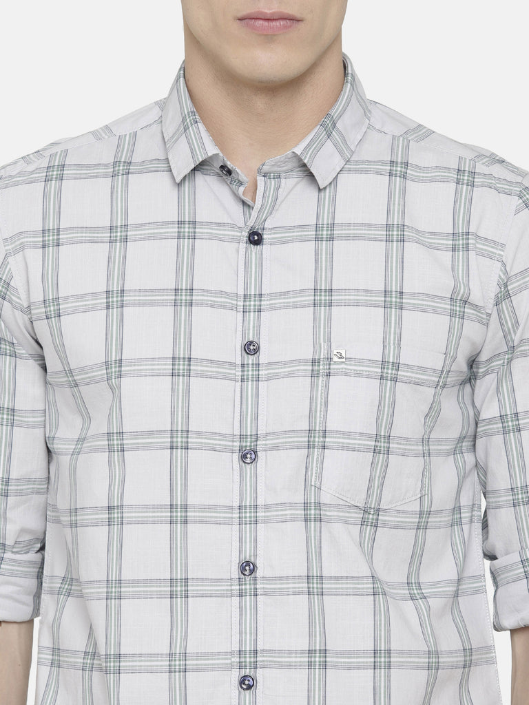 White and Grey Checkered Shirt