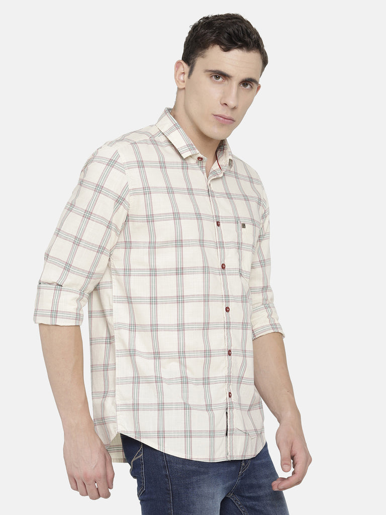 Off-White/ Beige Checkered Shirt