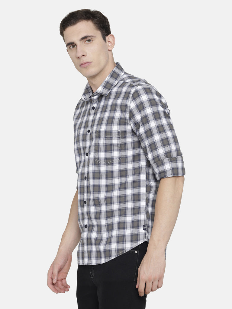 White Grey Melange Navy Checkered Shirt